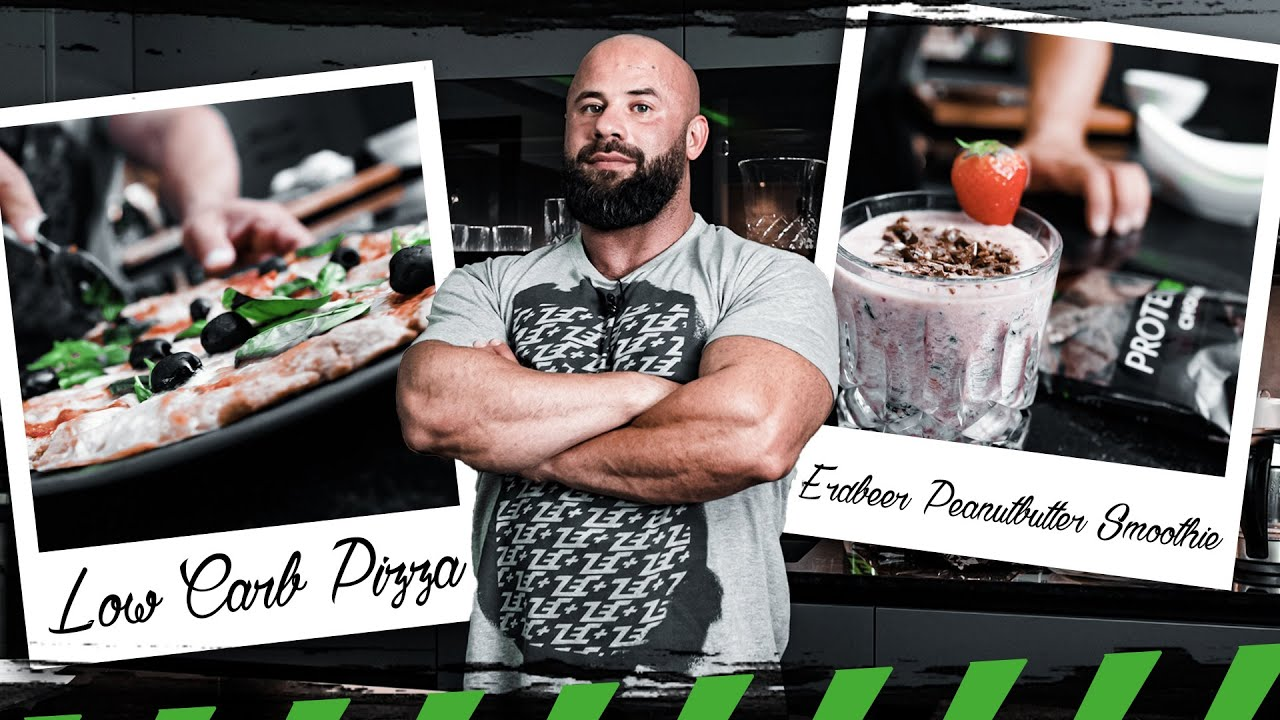 Die erste Folge ▶️ FRESS DICH FIT ◀️ mit Sharo45   Low Carb Pizza & Erdbeer Peanutbutter Smoothie
