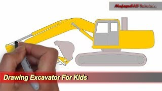 Drawing Excavator For Kids | Coloring Pages Tutorial