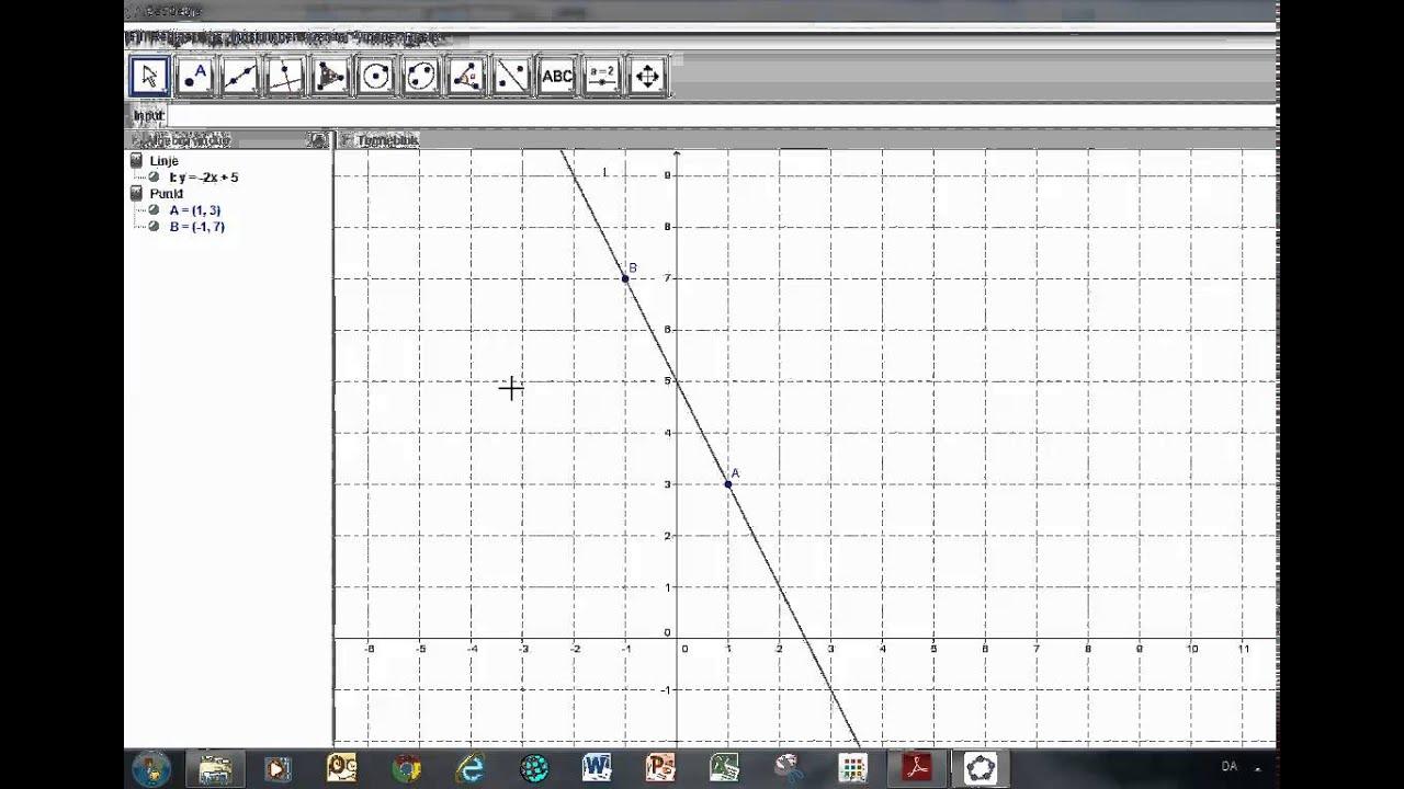 GeoGebra Rette linjer 01 Linje gennem to punkter og vinkelret linje