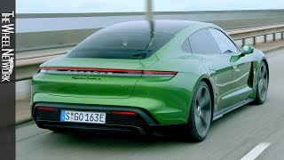 2020 Porsche Taycan Turbo S Driving in Hamburg & Kiel | Mamba Green Metallic