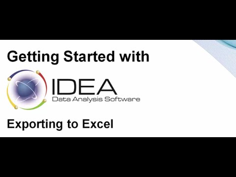 Getting Started with IDEA: Export to Excel
