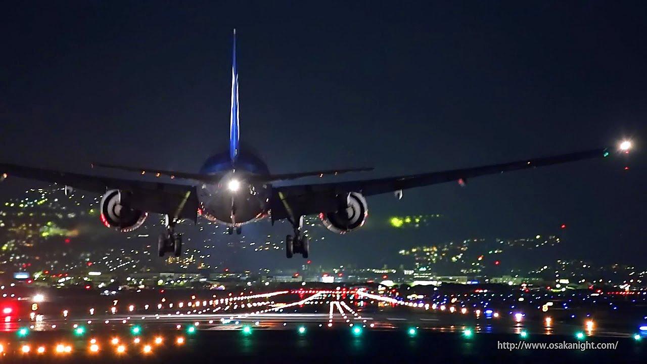 大阪伊丹空港 千里川堤防からの夜景 Night Landing At Osaka Itami Airport