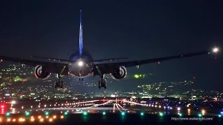 大阪伊丹空港 千里川堤防からの夜景 Night Landing at Osaka Itami Airport Japan thumbnail