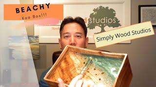 Premium Curly Koa Box with cast Beachy Resin at Simply Wood Studios