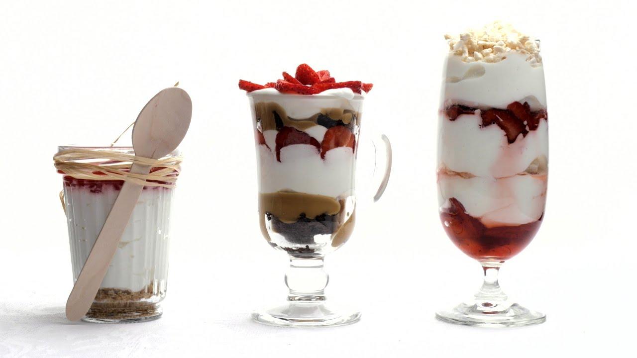 Три десерта без выпечки: трайфл, чизкейк и итонская смесь. Пошаговый видео рецепт.