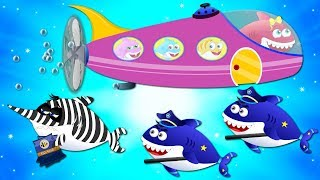 Police Shark vs Scary Flying Shark! Baby Shark Cartoon Songs & Rhymes