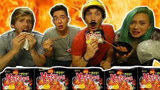 FIRE NOODLE CHALLENGE!!! WHICH RACE CAN HANDLE THE HEAT?!?!?!