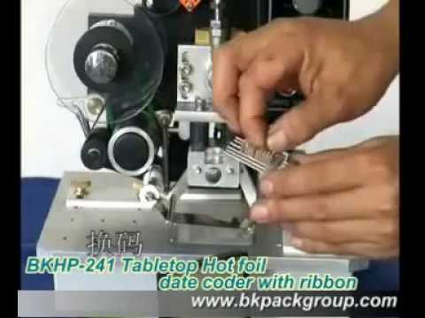 BKHP 241 Tabletop Hot foil date coder with ribbon,small date printer,expire date printer