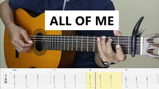 ALL OF ME - John Legend - Fingerstyle Guitar Tutorial TAB