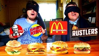 GUESS THE FAST FOOD BURGER! *Blindfold Taste Test Challenge*