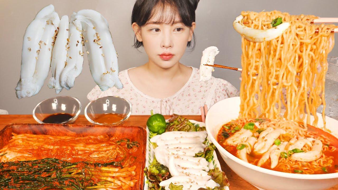 오징어내장 넣은 오징어짬뽕🦑 금치김치 4단계 독하게매운맛 먹방 Squid intestines Ramen [eating show]mukbang korean food