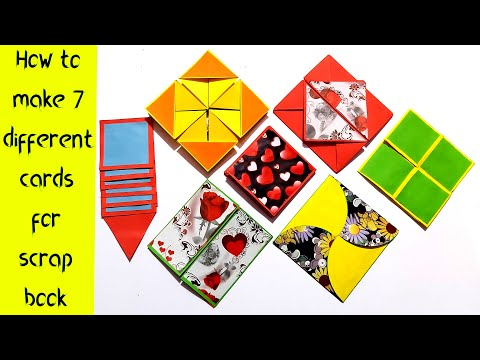 How to make 7 different cards for scrapbook| 7 different cards ideas |Easy Crafts|