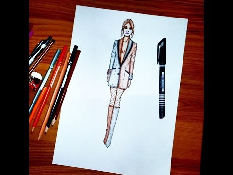 Fashion Illustration How To Draw A Women S Jacket Easy Youtube