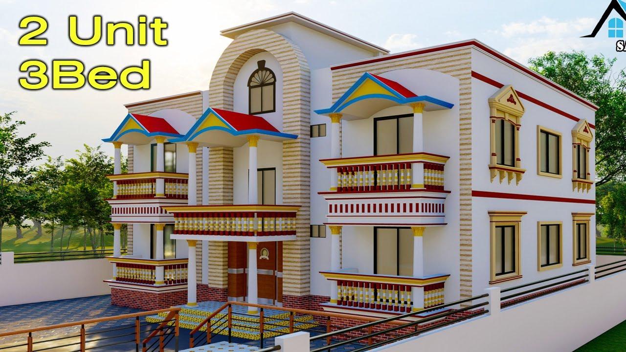 Two Unit House Design  দুই ইউনিট বাড়ির ডিজাইন   (3bed  4room)