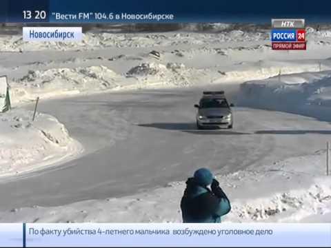 Сотрудники ГИБДД соревнуются в скорости на снежной
