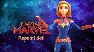 How to make a doll CAPTAIN MARVEL (Repaint doll - ooak)