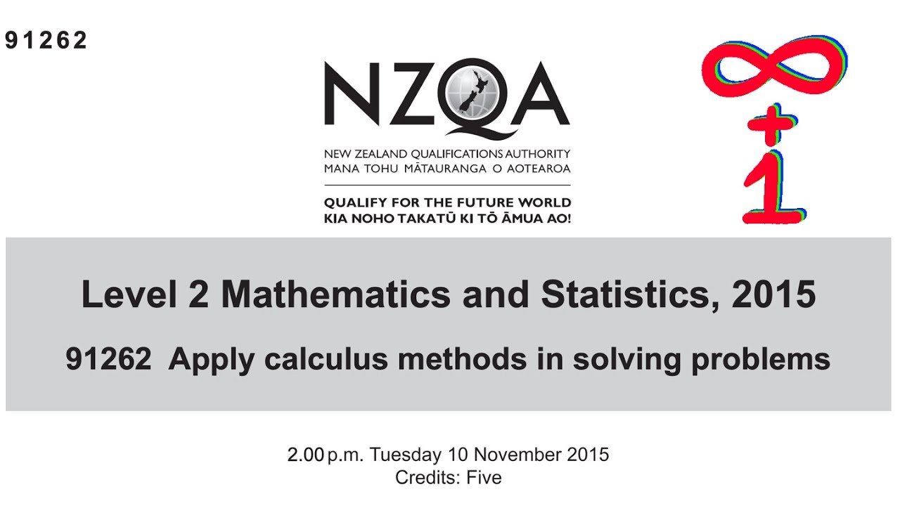 NCEA Level 2 Calculus 2015 NZQA Exam - Worked Answers