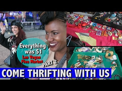 Oversized jean jacket, $1 broaches Vegas flea market |Come Thrifting With Us|#ThriftersAnonymous