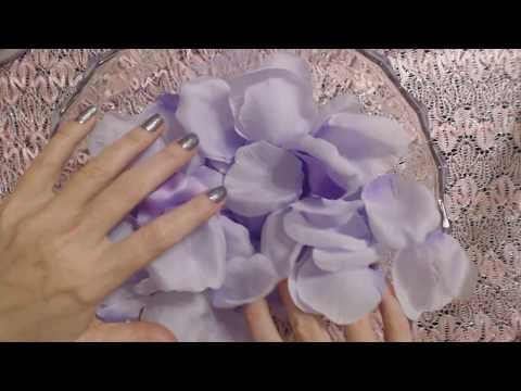 ASMR ~ Handling Satin Rose Petals / Light Glass Tapping / Some Whispering