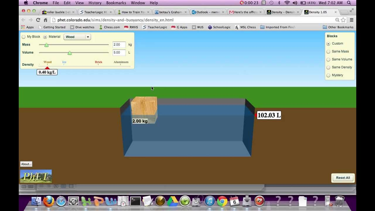 Phet density simulation RMHS - YouTube