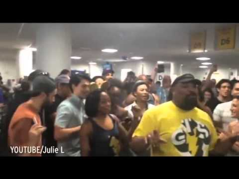 Watch Lion King and Aladdin Broadway casts stuck in airport burst into song to while away delay