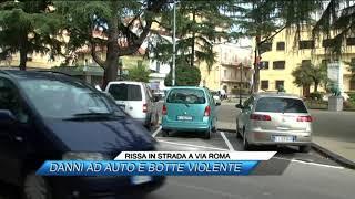 RISSA IN STRADA A VIA ROMA, DANNI AD AUTO E BOTTE VIOLENTE