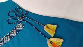 So Stylish Trendy Side Dori Kurti Neck Design Cutting and Stitching
