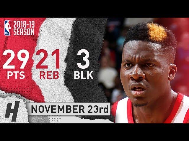 Clint Capela Full Highlights Rockets vs Pistons 2018.11.23 - 29 Pts, 21 Reb, 3 Blocks!
