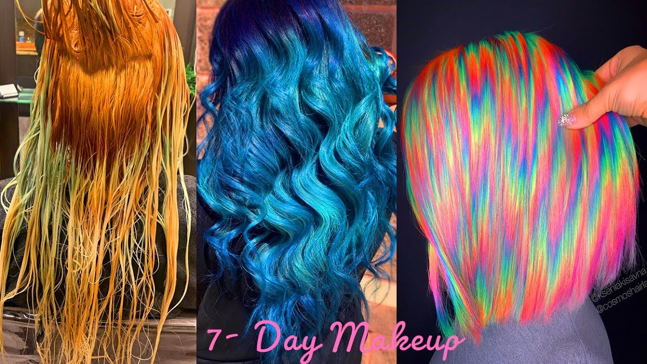 Rainbow Hair Color. Best Hair Colorful Transformation Tutorial Compilation Trending Winter 2020