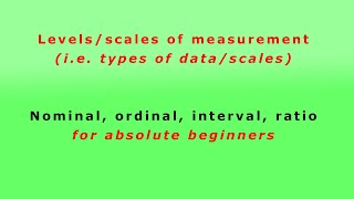 Levels/scales of measurement (types of data/scales): Nominal, ordinal, interval, ratio for beginners