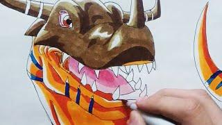 Drawing: Agumon Digivolving to Greymon (Digimon Tri)