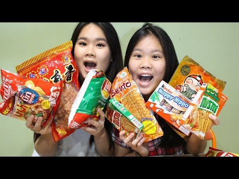 TRYING BANGKOK/THAILAND SNACKS/CANDIES!! (ft. My Sister) | KathrynkaTG