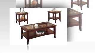 Poundex 3 Piece Coffee Table Dark Cherry