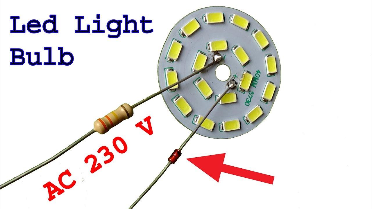Make super easy 230 v Led light bulb, diy led light bulb ...