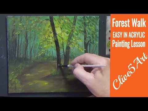 Forest Landscape with Acrylics,painting for beginners clive5art