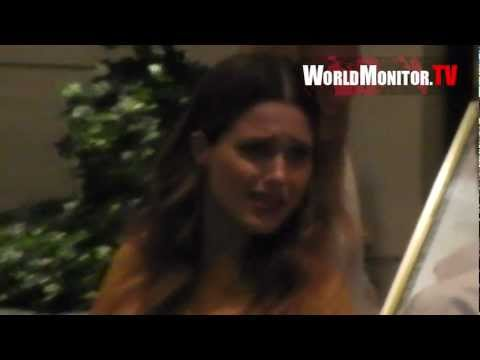 Sophia Bush, Ashley Tisdale and boyfriend Scott Speer leaving the London Hotel