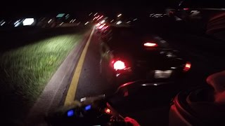 ROAD RAGE SLAMS BRAKES, motorcycle crash + biker kicks mirror off video clip