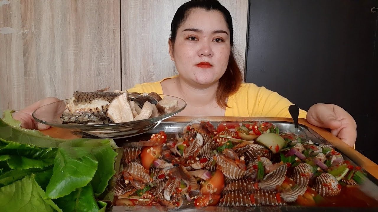 ยำหอยแครงตัวโตๆ 1กิโล+ปลานิลนึ่งแก้เผ็ด 7 กรกฎาคม ค.ศ. 2020