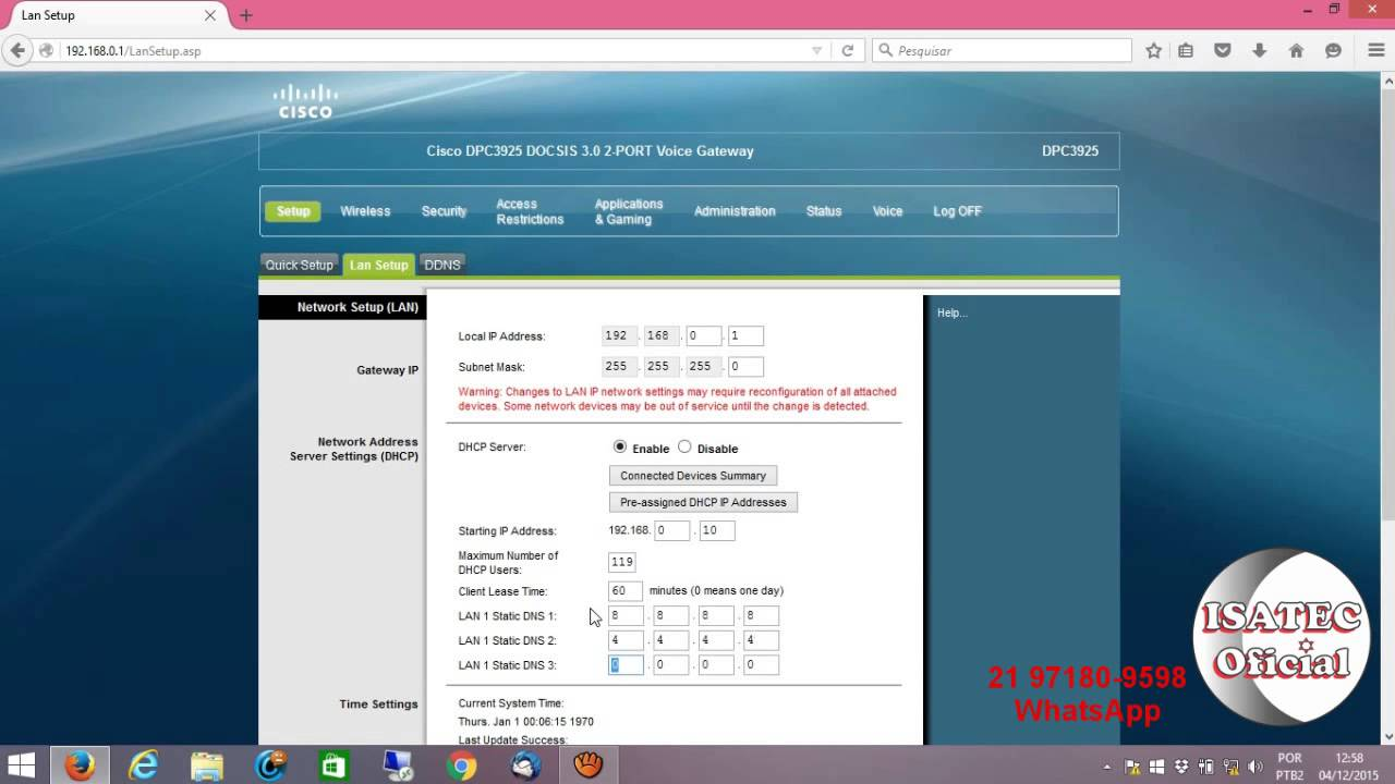 Rede - Mudando o DNS do Roteador CISCO DPC3925 da NET