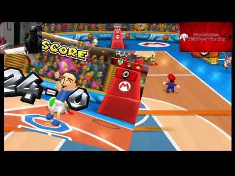 Lets Play Mario Sports Mix Wii on my Wii U Mushroom Cup Basketball , Hockey Wins Pt 1