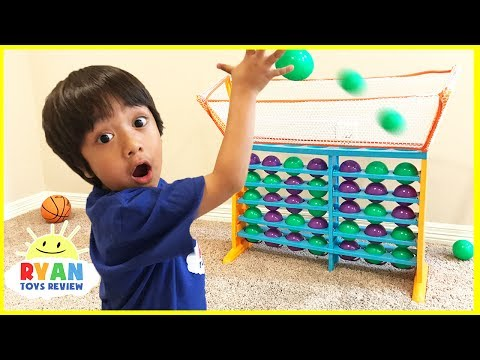 Thumbnail: BALL TOSS Connect 4 Family Fun Game Night parent vs kid! Eggs Surprise Toys For Kids