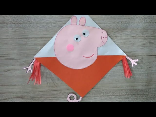 How to make PEPPA PIG KITE #Vasant Panchmi #Lohri #1