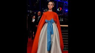 Elle Fanning looks stunning in ribbon embellished gown