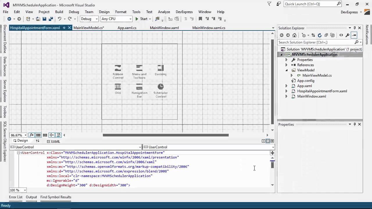 DevExpress WPF Scheduler: Custom MVVM Form