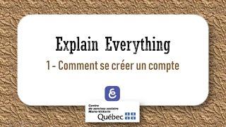 1  Comment se créer un compte Explain Everything