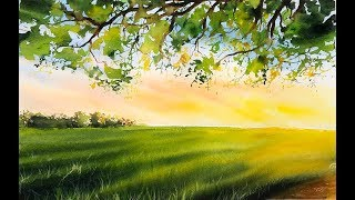 Landscape painting Trees Watercolor