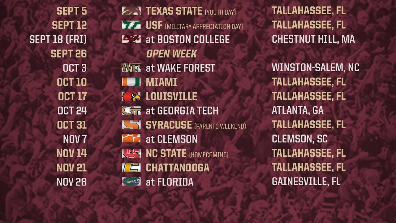 Florida State Announces 2015 Football Schedule