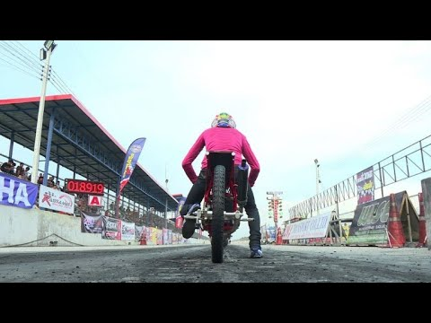 Motorcycle drag racers compete in Bangkok