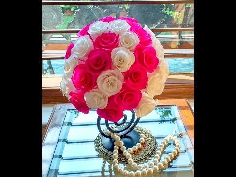 Diy How to make Beautiful Paper Rose Centerpiece \ Rose Topiary
