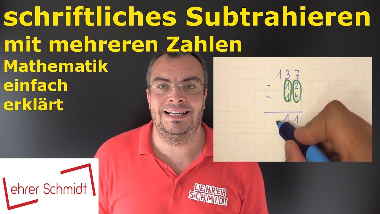 schriftliches Subtrahieren mit mehreren Zahlen   Mathematik ...
